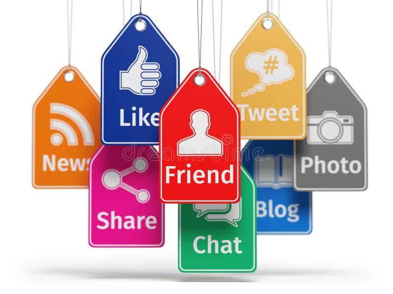 Socialt begrepp för massmediainternetkommunikation Tecken av apps royaltyfri illustrationer