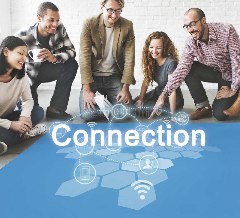 Socialt begrepp för nätverksinternetuppkopplingteknologi arkivfoto