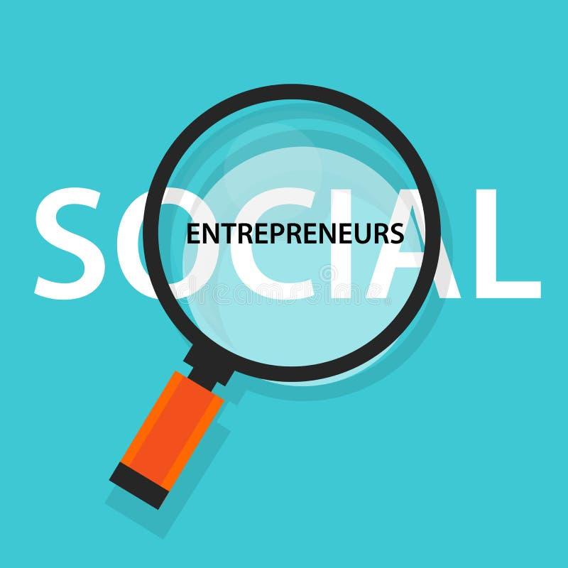 Socialt entreprenörbegrepp av affären med framkallande gemenskap för bra inverkan som hjälper andra i behov stort öglasexponering royaltyfri illustrationer