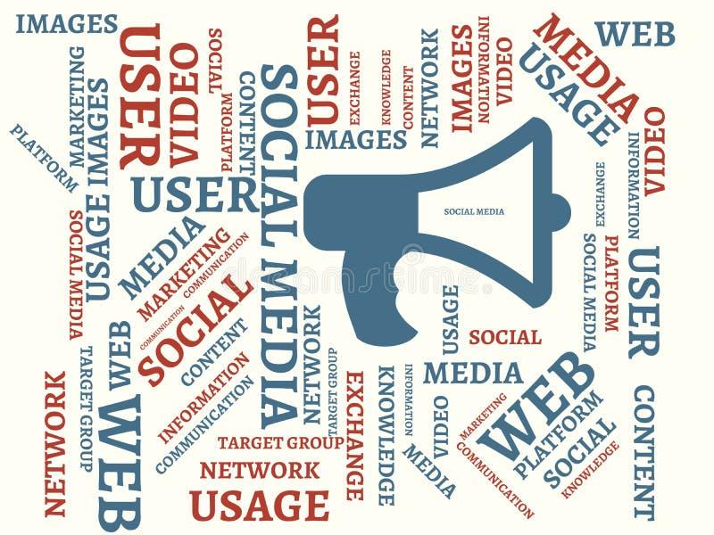 SOCIALT MASSMEDIA - avbilda med ord som förbinds med det SOCIALA MASSMEDIA för ämnet, uttrycker, avbildar, illustrationen vektor illustrationer