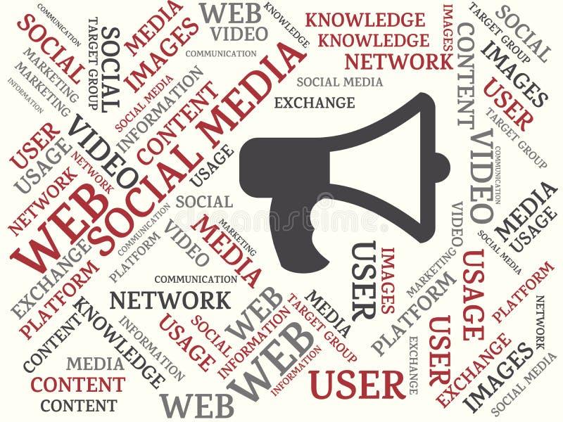 SOCIALT MASSMEDIA - avbilda med ord som förbinds med det SOCIALA MASSMEDIA för ämnet, uttrycker, avbildar, illustrationen royaltyfri illustrationer