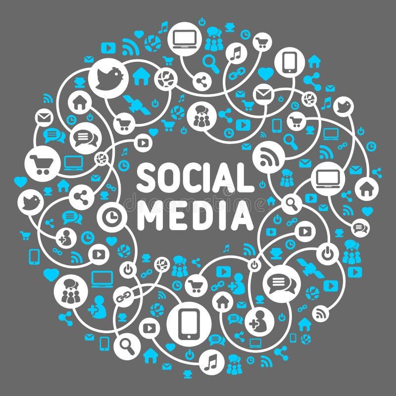 Socialt massmedia, bakgrund av symbolsvektorn royaltyfri illustrationer