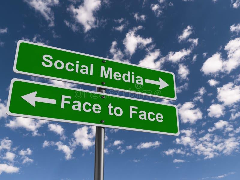 Socialt massmedia eller ansikte mot ansikte royaltyfria foton