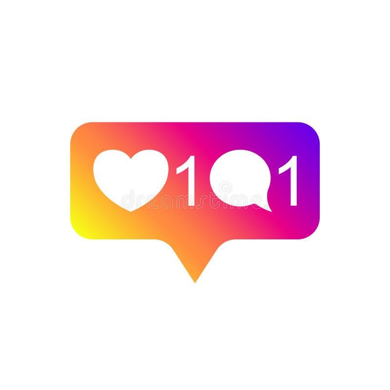 Socialt massmedia Instagram som är modern som 1, kommentar 1, lutningfärg Som anhängare, knapp, symbol, symbol, ui, app, rengörin royaltyfri illustrationer