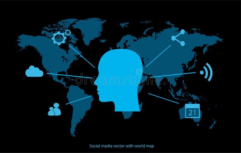 Socialt massmedia med det mänskliga huvudet stock illustrationer