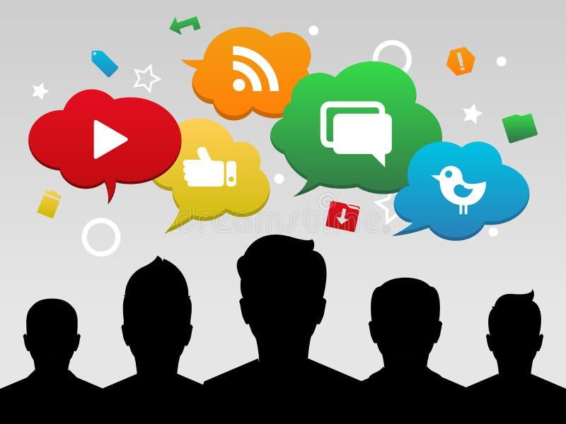 Socialt massmedia med vänner stock illustrationer