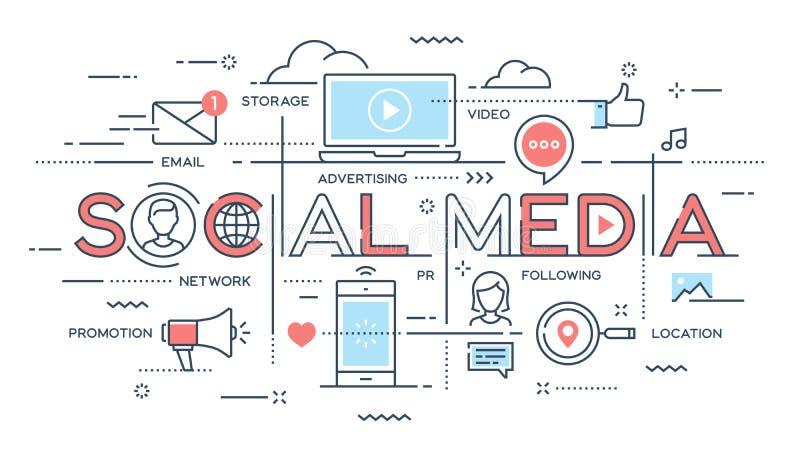 Socialt massmedia, nätverk, video som marknadsför den tunna linjen begrepp stock illustrationer