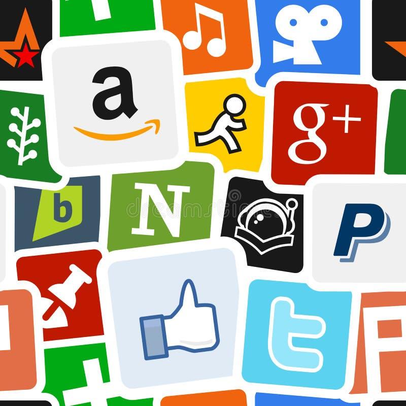 Socialt massmedia & nätverkssymbolsbakgrund royaltyfri illustrationer