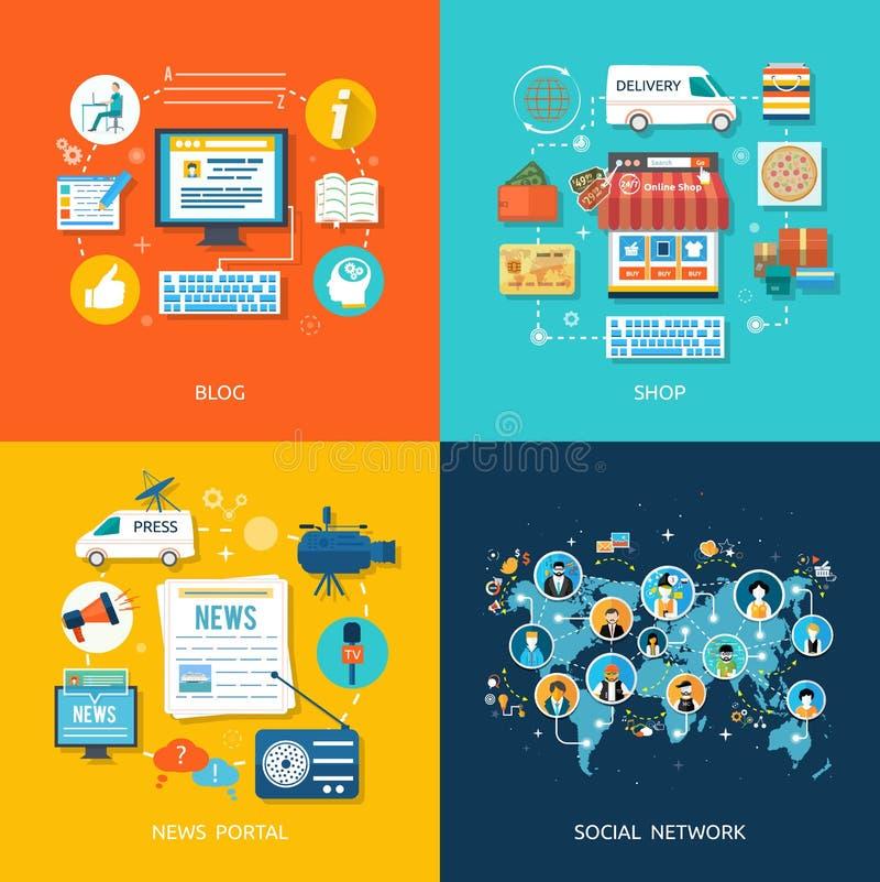 Socialt massmedia och begrepp för nätverksanslutning royaltyfri illustrationer