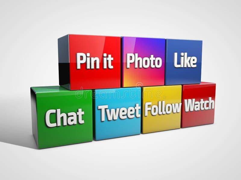 Socialt massmedia och nätverkandebegrepp: grupp av kulöra kuber med med sociala massmediaord illustration 3d stock illustrationer