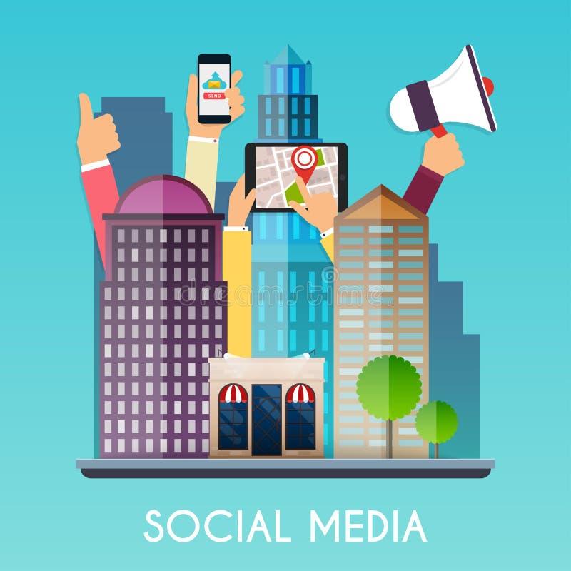 Socialt massmedia och på apparater i händer av stadsfolk Plan design vektor illustrationer
