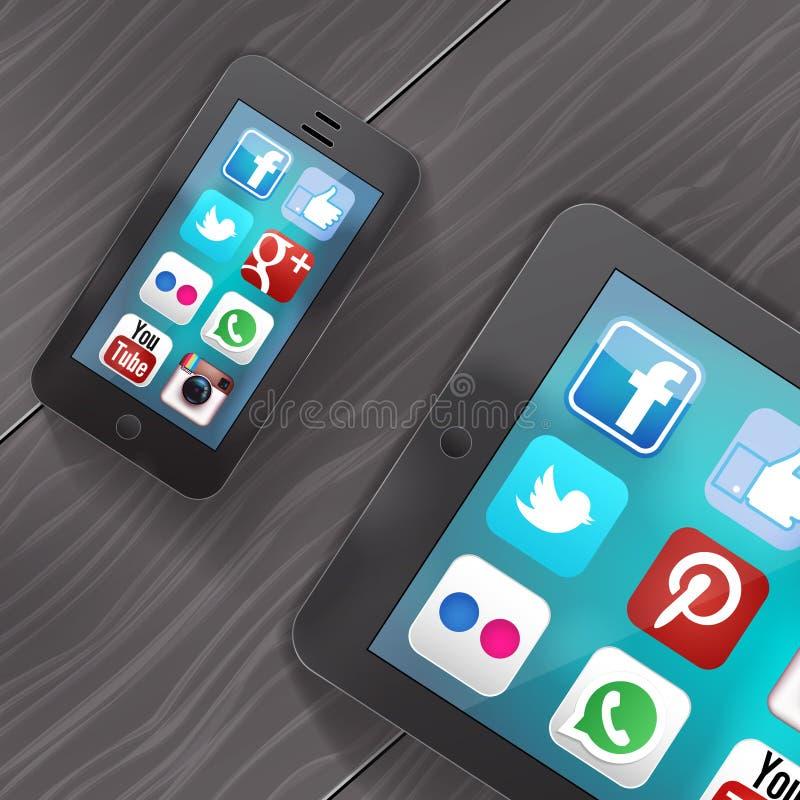 Socialt massmedia på ipad och iphone royaltyfri illustrationer