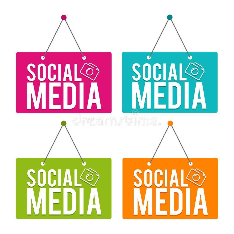 Socialt massmedia som hänger dörrtecknet Vektor Eps10 royaltyfri illustrationer