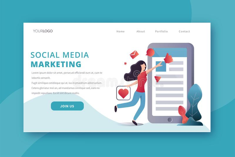 Socialt massmedia som landar sidan stock illustrationer