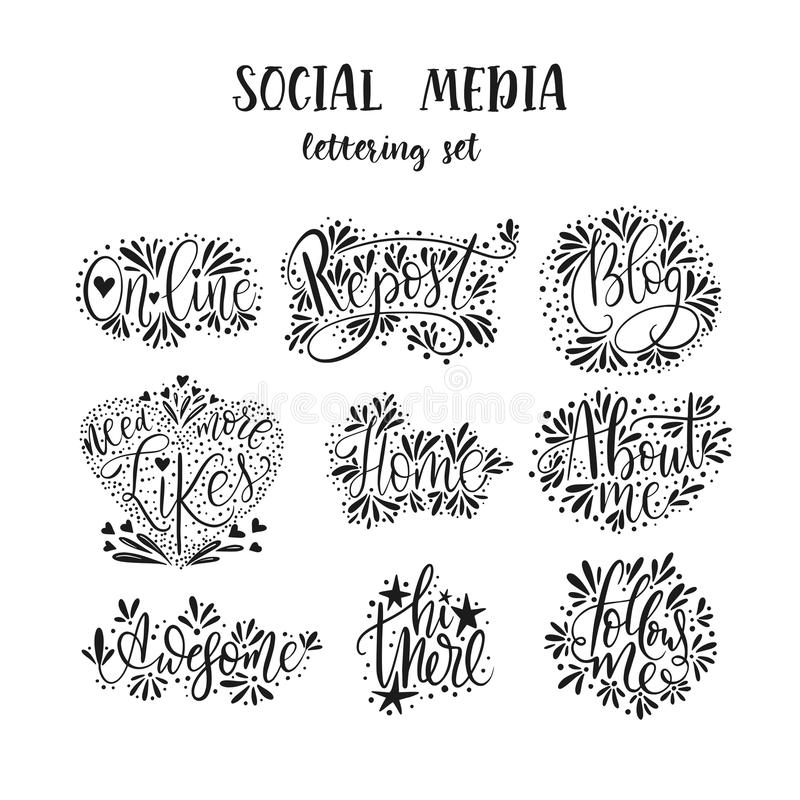 Socialt massmedia som märker uppsättningen vektor illustrationer