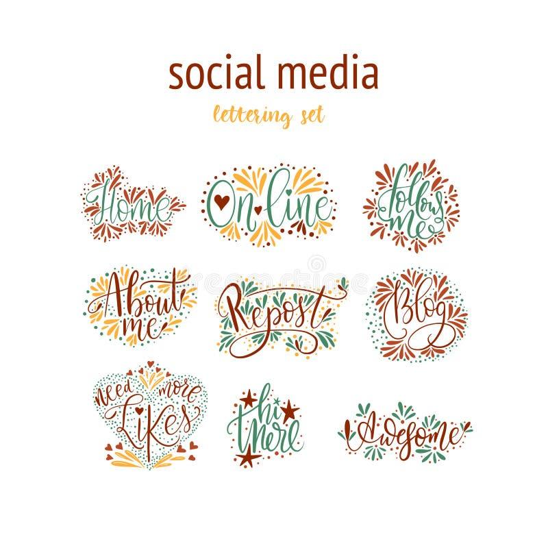 Socialt massmedia som märker uppsättningen stock illustrationer