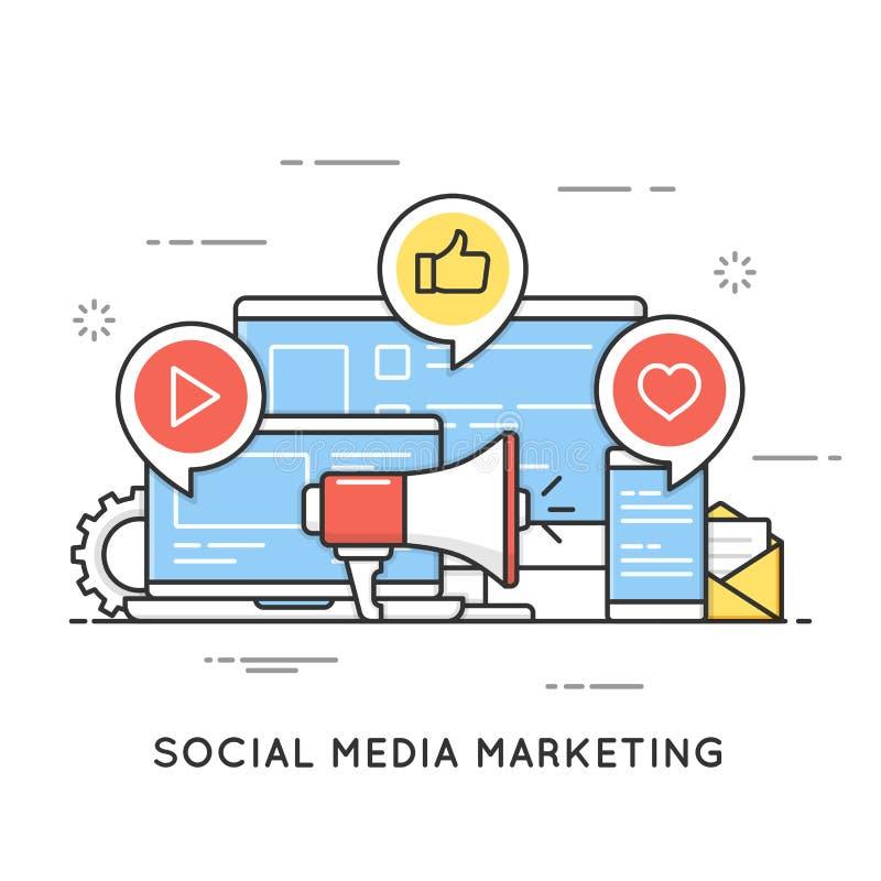 Socialt massmedia som marknadsför, SMM, nätverkskommunikation, internetadv vektor illustrationer