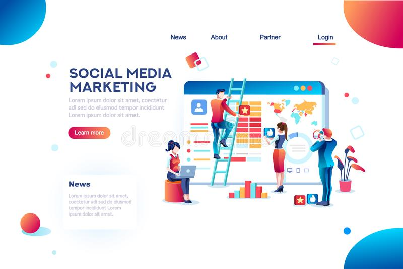 Socialt massmedia som marknadsför utveckling Infographic stock illustrationer