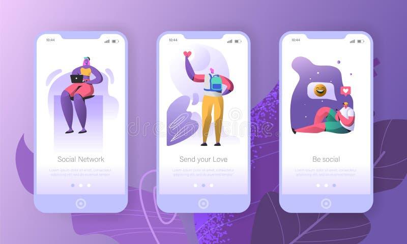 Socialt massmedia som onboarding mobila appskärmar stock illustrationer