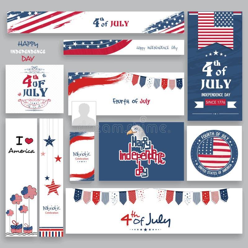 Socialt massmedia stolpe eller titelrader för amerikansk självständighetsdagen vektor illustrationer