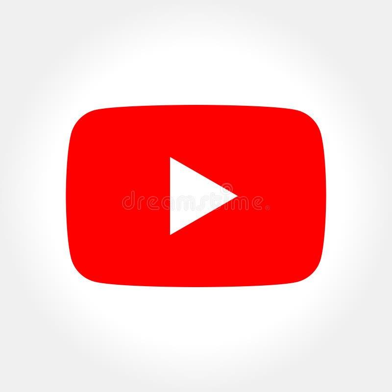 Socialt massmedia YouTube som för röd knapp isoleras på vit royaltyfri illustrationer