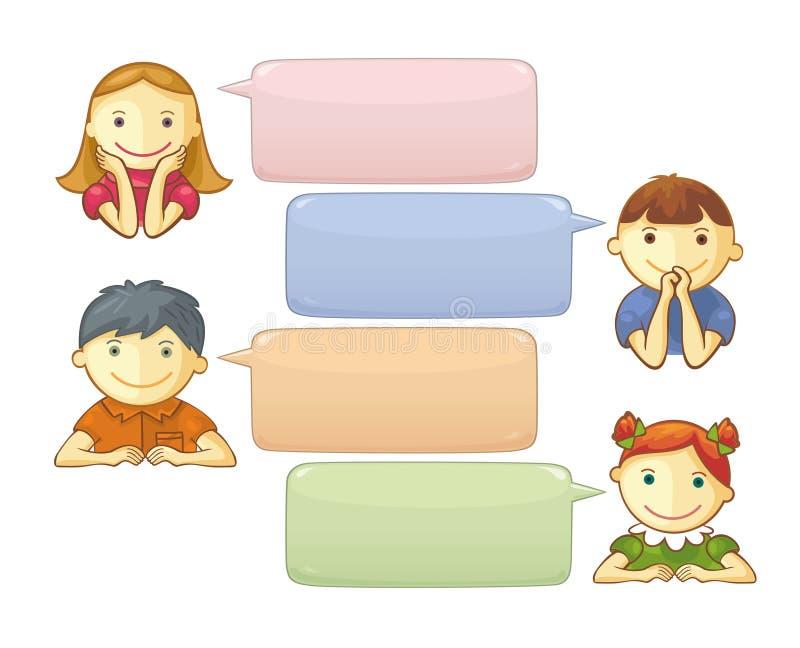 Pratstundmall med gulliga Personages stock illustrationer