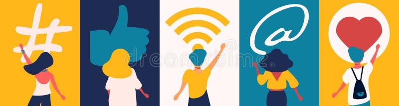 Socialt massmediabegrepp: digitala appsymboler f?r bloggers och influencers som delar med ?h?rare Plant vektorhashtagtecken royaltyfria foton