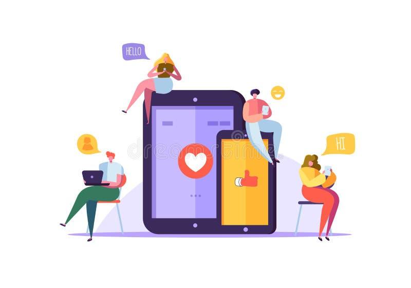 Socialt massmediabegrepp med tecken som pratar på grejer Grupp av plant folk som använder mobila enheter Social nätverkande royaltyfri illustrationer