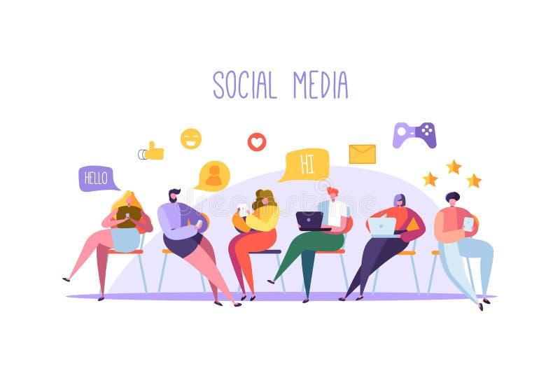 Socialt massmediabegrepp med tecken som pratar på grejer Grupp av plant folk som använder mobila enheter Social nätverkande vektor illustrationer