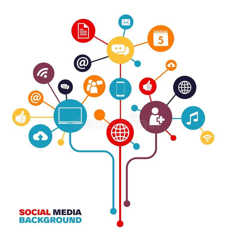 Socialt massmediabegrepp - uppkopplingsmöjlighet som knyter kontakt vektor illustrationer