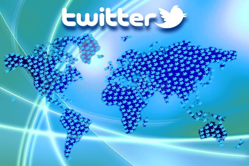 Socialt massmedianätverk Twitter Logo Wallpaper royaltyfri illustrationer