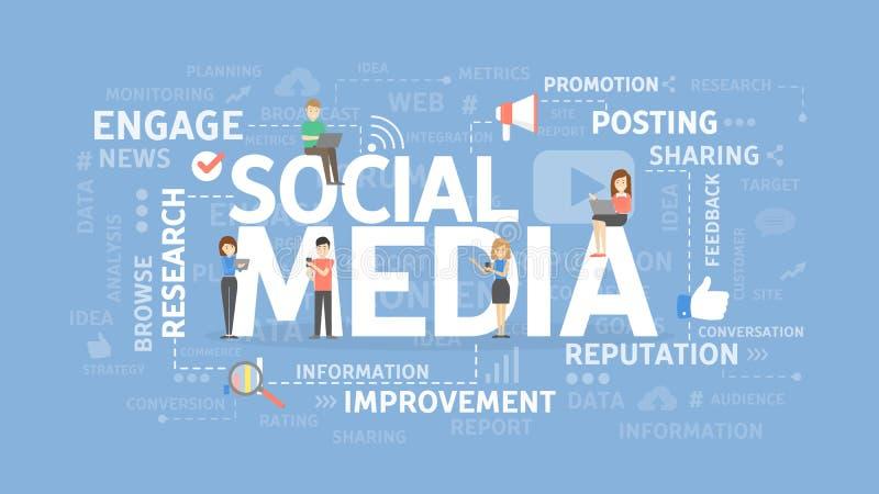 Socialt medelbegrepp vektor illustrationer