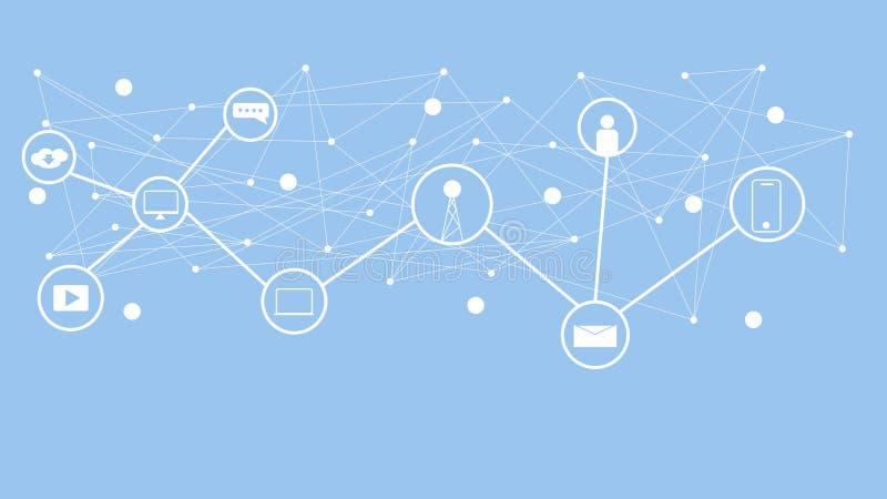 Socialt medelbegrepp Kommunikation i de globala datorn?ten royaltyfri illustrationer