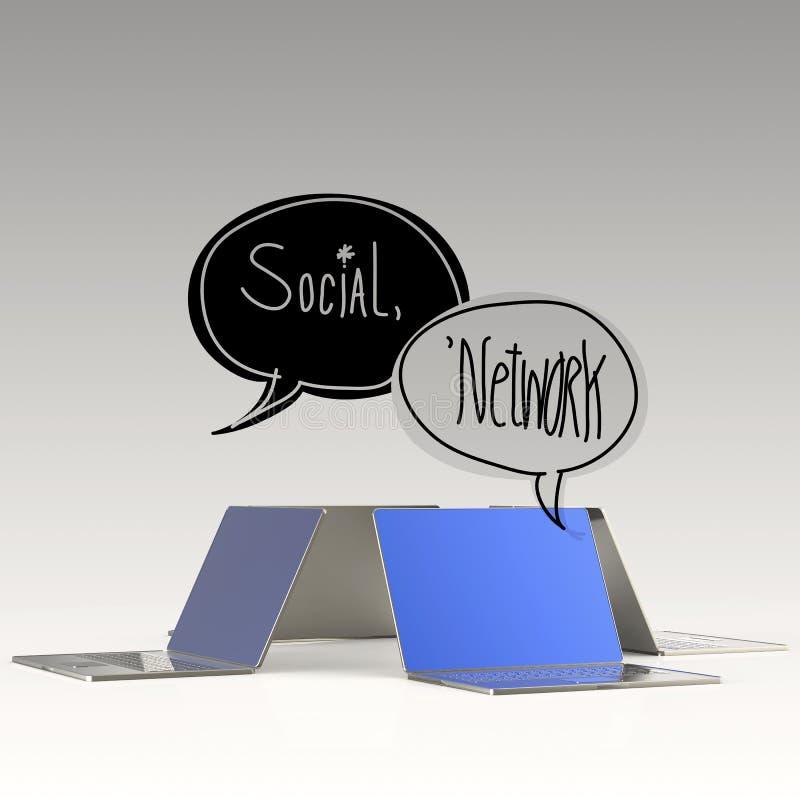 SOCIALT NÄTVERK för designord och bärbar datordator 3d vektor illustrationer