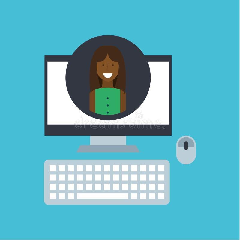 Socialt nätverk för flickaafro--amerikan gemenskap stock illustrationer