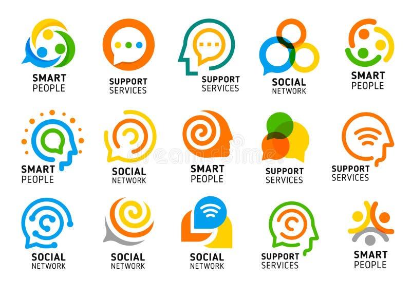 Socialt nätverk för kluringar med den idérika hjärnan Supporttjänstsymbolsuppsättning Färgrik vektorlogosamling stock illustrationer