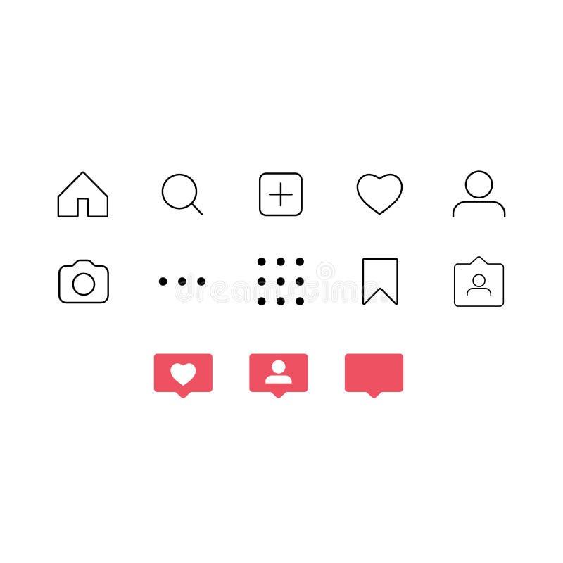 Socialt nätverk för plan design som klassar symboler: tummar upp symbol, hjärtasymbol, repost och den nya anhängaren stock illustrationer