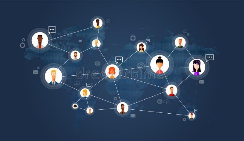 Socialt nätverk, folk som över hela världen förbinder Plan illustration för vektor stock illustrationer