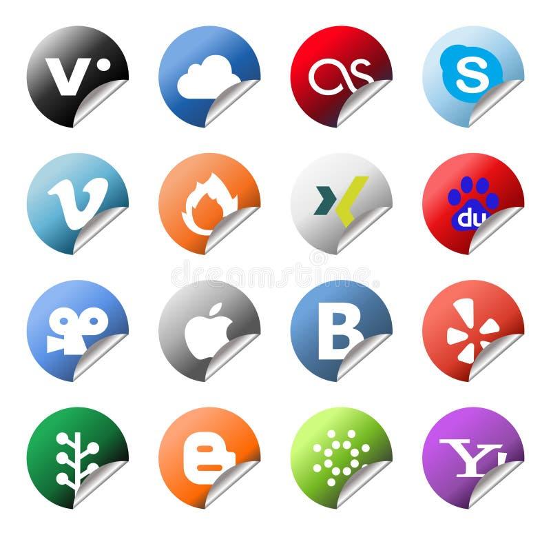 Socialt nätverk Logo Stickers Set royaltyfri illustrationer