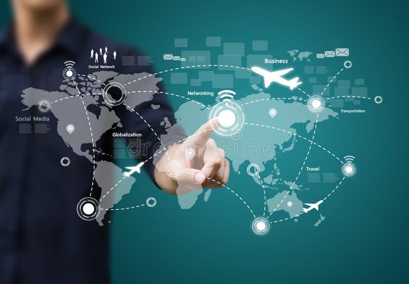 Socialt nätverk och modern kommunikation stock illustrationer