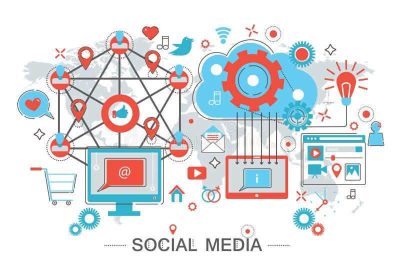 Socialt nätverk och social massmediavektorillustration Modern lägenhetlinje infographicsbegrepp för grafisk design för promo och royaltyfri illustrationer