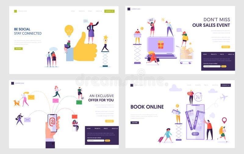 Socialt nätverk, online-shopping, service för elektronisk post, bokbiljetter i uppsättning för mallar för sida för internetWebsit vektor illustrationer