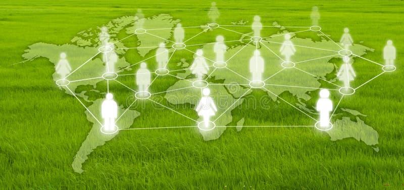 Socialt nätverk på gräsfältet. arkivbild