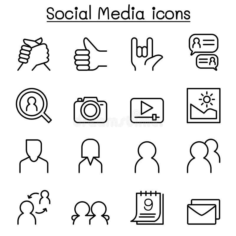 Socialt nätverk, social massmediasymbolsuppsättning i den tunna linjen stil stock illustrationer