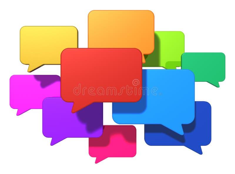 Socialt nätverkande- och internetmessagingbegrepp stock illustrationer