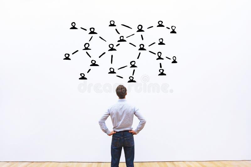 Socialt nätverks- eller kommunikationsbegrepp, anslutning arkivbilder