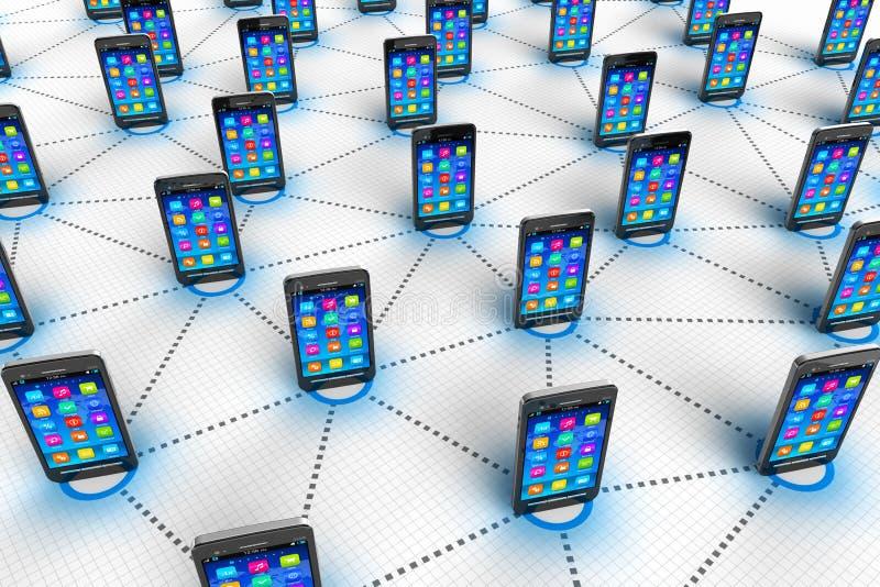 Socialt nätverks- och mobiliekommunikationsbegrepp royaltyfri illustrationer