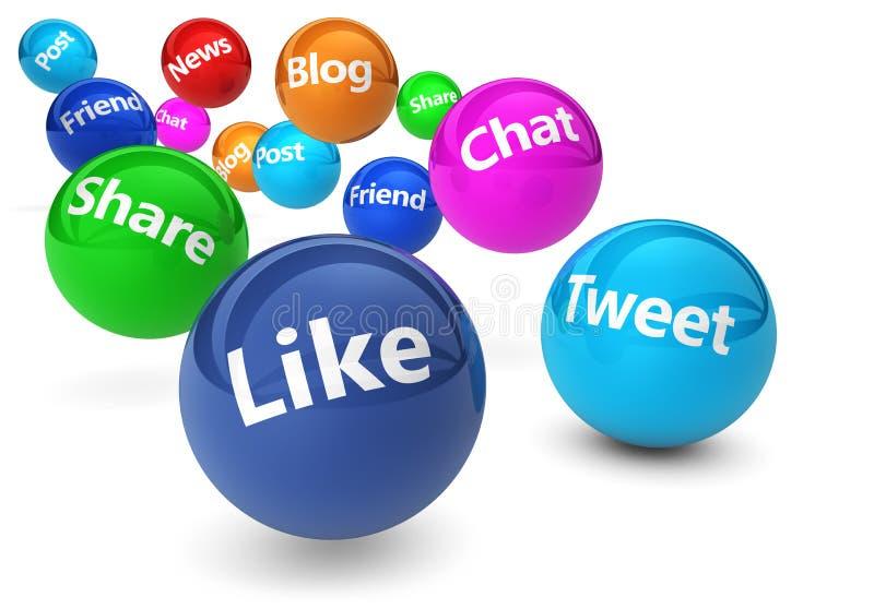 Socialt nätverks- och rengöringsdukmassmediabegrepp stock illustrationer