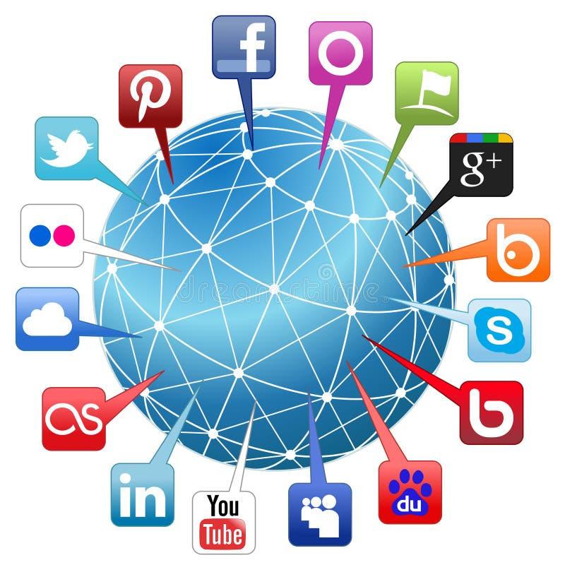 Socialt nätverksbegrepp för värld royaltyfri illustrationer