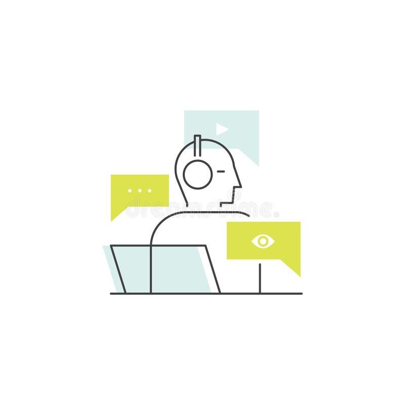Socialt nätverksbegrepp genom att använda trådlös anslutning via WiFi, socialt nätverksbegrepp, innehåll som delar och konsumerar stock illustrationer